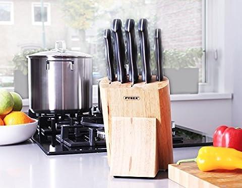 Bloc à couteaux (avec 5couteaux) en bois de bambou de Pyrex–pour un rangement sûr, propre et ordonné