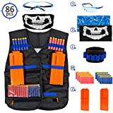 Nerf Tactical Vest For Kids - Complete Set For Nerf Guns N-Strike Blasters And Elite Series - With 2 Quick Reload Clips, Hand Wrist Band, Protective Glasses, Tube Face Mask And 80 Refill Foam Darts
