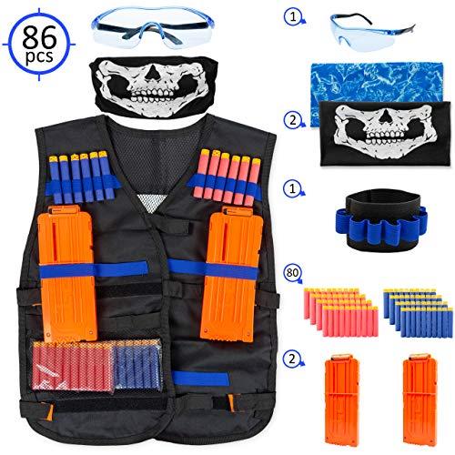 SUPAtoys Nerf Tactical Weste für Kinder – Komplettset für Nerf Guns N-Strike Blaster und Elite Serie – mit 2 Quick Reload Clips, Handarmband, Schutzbrille, Tube Face Mask und 80 ()