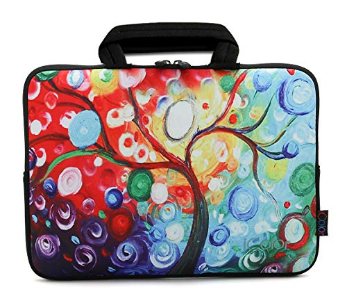 "iColor 11.6"" 12"" 12.1"" 12.2 Inch Neoprene Laptop Sleeve Carrying Bag,Protective Notebook Chromebook Ultrabook Case Cover with Handle Fit Dell HP Samsung Google Acer Lenovo Asus (Colorful Tree)"