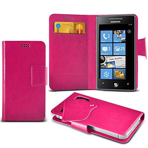 (Hot Pink) Samsung I9001 Galaxy S Plus Schutzhülle Mega Dünn Faux Leder Saugnapf Tasche Case Cover hülle mit Kredit- /Debitkarte Steckplätze Aventus