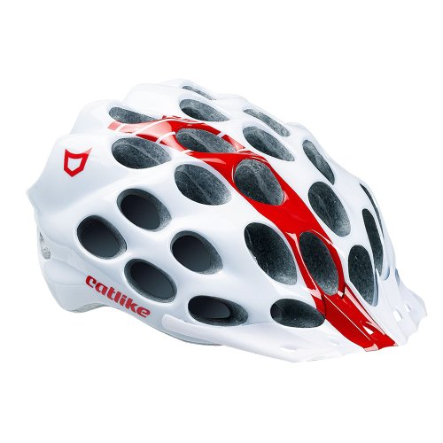 Catlike Whisper - Casco de ciclismo, color blamco / rojo brillo, talla MD (56-58 cm)