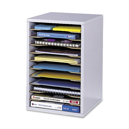 WOOD VERTICAL DESKTOP LITERATURE SORTER  11 SECTIONS 10 5/8 X 11 7/8 X 16  GRAY  SOLD AS 1 EACH