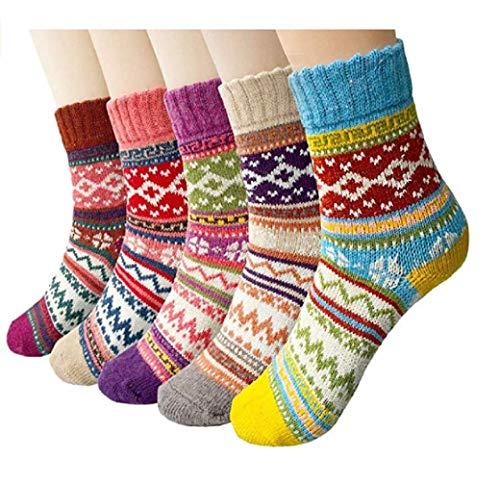 Bunte Socken | Vintage Damen Wintersocken | Frauen Wollsocken | 5er Pack | ONE SIZE | Gr. 35-42 | Warme Baumwollsocken |, Norwegen, Size: 35-42