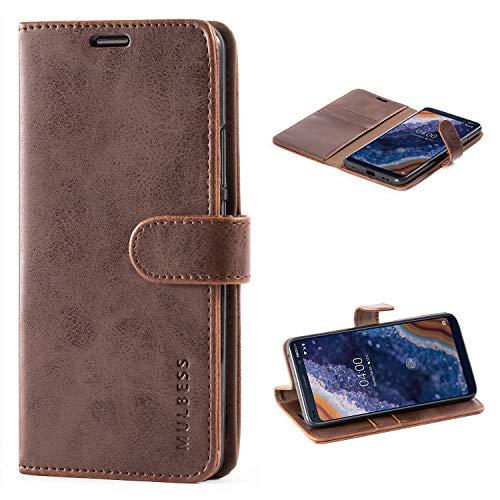 Mulbess Handyhülle für Nokia 9 PureView Hülle, Leder Flip Case Schutzhülle für Nokia 9 PureView Tasche, Vintage Braun