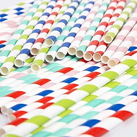 rigide Multicolore rayé pailles papier à partir de Robelli
