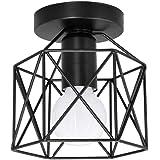 Artpad Vintage Loft Gabbia di ferro nero Lampada da soffitto a led 5W Lampada da soffitto a LED nordica bianca per cucina Cam