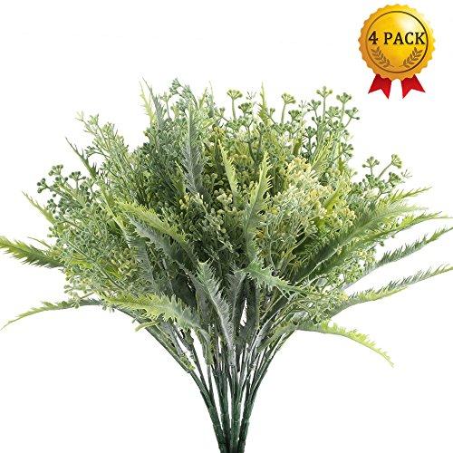 Nahuaa pianta artificiale da esterno 4pcs piante verdi cespuglio artificiale da balcone decorazioni famiglia cucina giardino davanzali