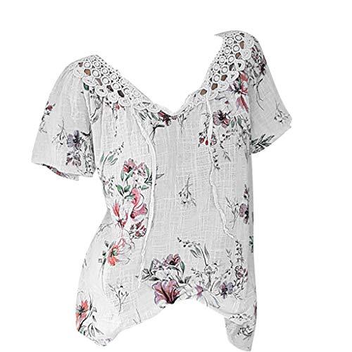 Bluse, Bluelucon Damen Kurzarm Blumen Oberteile Mode V Ausschnitt Spitze Hemd Casual Tunika Top Sommer T-Shirt Elegant Sommerbluse Blusenshirt Große Größen