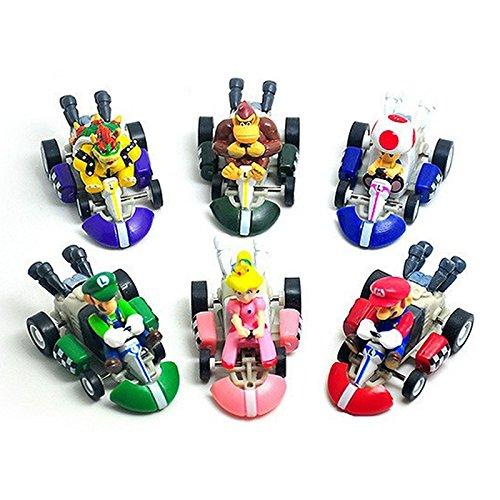 ONOGAL Super Mario Bros Colección de 6 Karts Coches de Tracción Trasera Figuras Personajes Diferentes de PVC Alta Calidad 4727
