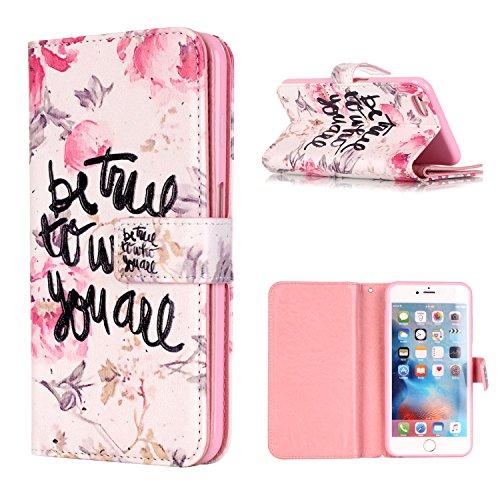 MOONCASE iPhone 6 6S Coque,[Sweetheart] Relief Multifonction Fentes de Cartes Housse en Cuir Etui à rabat Case avec Portefeuille Béquille Fermeture Magnétique pour iPhone 6 / 6S (4.7 inch) Be yourself
