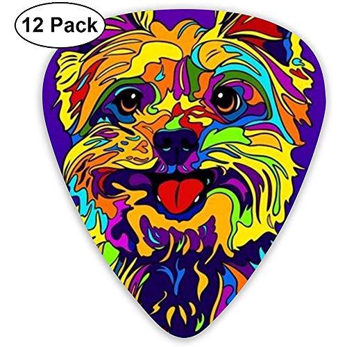 Yorkie Terriers Dog Plektren Set 12 Ukulelen-Plektren, einschließlich 0,46 mm, 0,71 mm, 0,96 mm Akustikgitarren-Pick-and-Pick-Box -