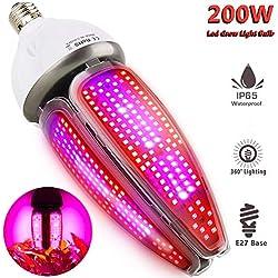 Pflanzenlampe Wasserdicht 200W LED Pflanzenlampe Vollspektrum E27 Led Grow Lampe, MILYN 360 Grad Beleuchtung Pflanzenleuchte Pflanzenlicht für Garten Gewächshaus Zimmerpflanzen, Blüte, Blumen, Gemüse