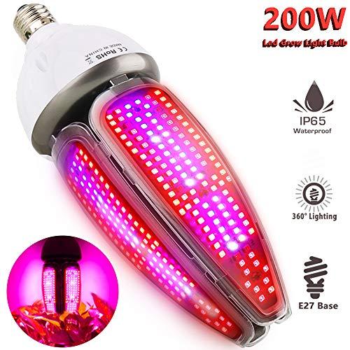 Pflanzenlampe Wasserdicht 200W LED Pflanzenlampe Vollspektrum E27 Led Grow Lampe, MILYN 360 Grad...