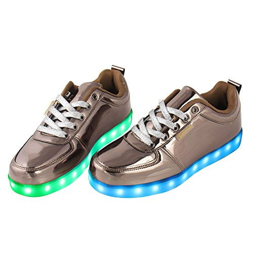 Angin-Tech LED Chaussures,7 Couleurs de Recharge USB Enfants Souliers de Clignotants Sneakers de Garçon et Fille pour l'Anniversaire Grâce de Noël Donnant avec Certificat CE Or Foncé