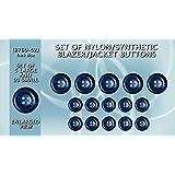 Set de sintético/nailon Blazer botones 5grandes y 10Pequeño, color azul (gb8760–02)