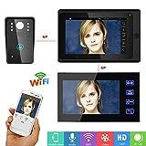 HUALI 7'2 moniteurs Filaire/sans Fil WiFi portier vidéo Sonnette interphone système avec IR-Cut HD1000TVL caméra Filaire Vision Nocturne