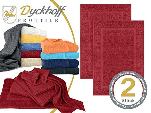 Markenqualität von Dyckhoff - Handtuchserie Kristall im Sparpack - erhältlich in 10 modernen Farben und 7 verschiedenen Größen - in klassisch elegantem Design und mit angenehm weichem Griff, 1 Pack (2 Stück) - Badvorleger, rot