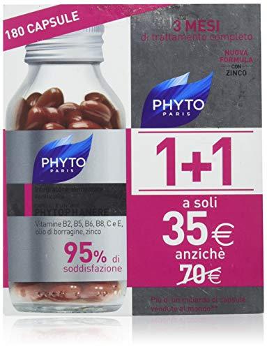 phyto phytophanere integratore alimentare naturale fortificante capelli e unghie per forza, crescita e volume, senza siliconi, 180 capsule