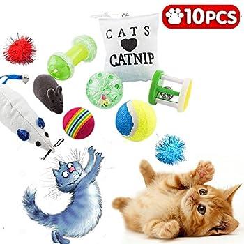 Jouets chat, jouet chaton, jeux pour chats et animaux, lot de 10 jeux, balle, souris, coussin...
