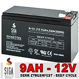 SIGA Batterie S9-12 12 V/9 Ah Phaeton Vrla Agm Deep Cycle Zyklenfeste Antriebs-und Versorgungsbatterien