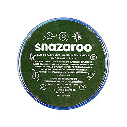 Snazaroo 1118455 Kinderschminke, hautfreundliche hypoallergene Gesichtschminke auf Wasserbasis, wasservermalbar, parabenfrei, dunkelgrün, 18 ml Topf