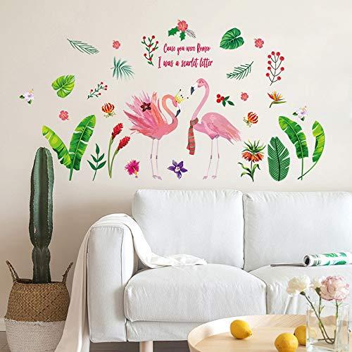 Wandaufkleber Nordischen Stil Green Leaf Lovebird Flamingo Home Wanddekoration Aufkleber Ins Mädchen Herz Kleiderschrank Hostel Dress Up (Up Flamingo Dress)