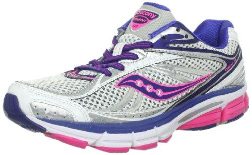 Saucony Women's Omni 12 Running Shoe,Grey/Purple/Citron,10 N US Blanc/bleu/rose