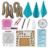 Woohome Carta Quilling Kit, Kit Composto da 12 Attrezzi e 36 Colore 880 Strisce di Carta, per Creazioni Artigianali (1)