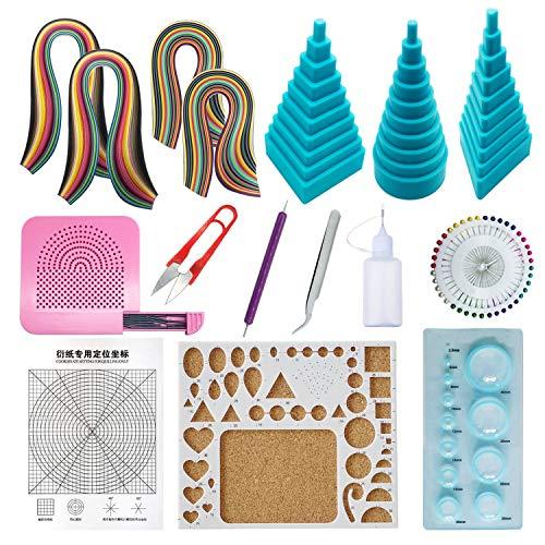 Woohome Papier Streifen Quilling Werkzeug-Set, Papier Quilling Set mit 36 Farben 880 Streifen Quilling Papier und 12 Quilling Werkzeuge