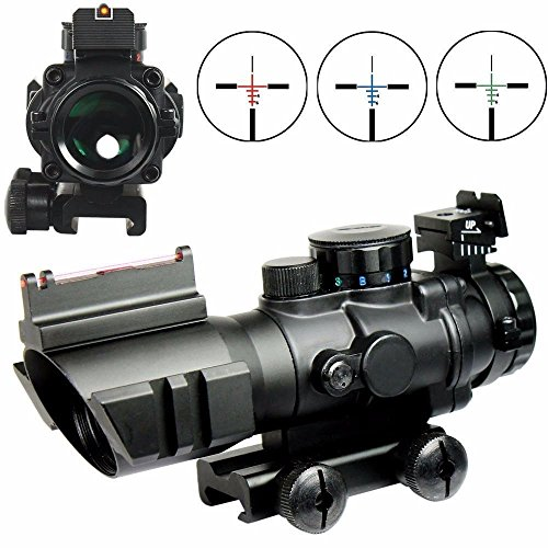 Uniquefire Airsoft Red Dot Tactical 4 x 32 RGB Tri-illuminated Compatto Scope con Rosso Fibra Ottica Vista Acidato Rail Mount Regolabile