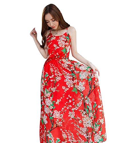 BOMOVO Damen Sommer Böhmen Schulterfrei Lang Celebrity Party Strandkleid Abendkleid Maxi Kleid Rot