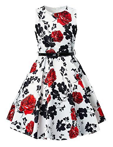 Funnycokid Vintage Kleider für Mädchen Classy Vintage Floral Swing Kinder Partykleid mit Gürtel für Geburtstagsbankett Kirche Schule Tanz Ostern (Schule Für Kleider Mädchen)