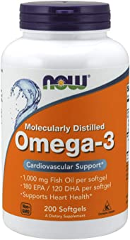 NOW Foods Omega-3 Cardiovascular Support 1000 mg, 200 Softgel Capsules
