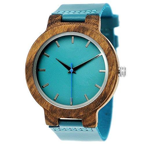 Handgefertigte Holzwerk Germany® Designer Damen-Uhr Herren-Uhr Öko Natur Holz-Uhr Leder Armband-Uhr Analog Klassisch Quarz-Uhr in Blau Türkis