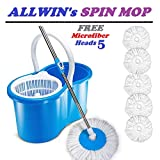 ALLWIN'sHome Cleaning 360° Spin Floor Cleaning Easy Advance Tech Bucket PVC Mop