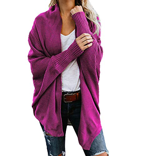 iHENGH Damen Herbst Winter Cardigan Top,Women Lange ÄRmel Solid Color Casual Mantel Pullover Coat Strickjacke Tops -