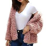 KUDICO Damen Lässigen Mantel Faux Fell warme Jacke Winter Parka Hooded Oberbekleidung über Mantel (Rosa, EU-36/CN-M)