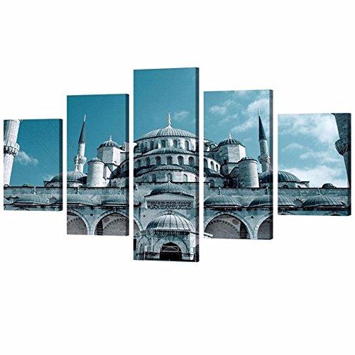 Mezquita Imagen estirada y enmarcado 5 trozo famoso lienzo de pared del edificio Art para el Salón paisaje Cuadros Decoracion