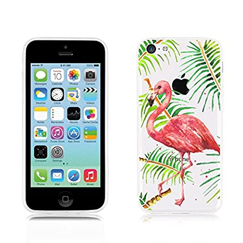 Coque iPhone 5C silicone transparente | JammyLizard | Coque silicone transparente résistante pour iPhone 5C, Flamant Rose