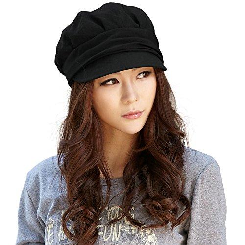 SIGGI Schirmmütze Maler Mütze Damen Ballonmütze mit Visor schwarz