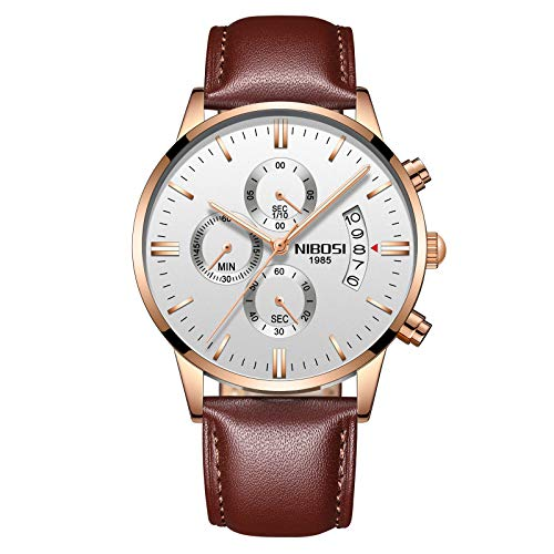 NIBOSI Watches Men Sport Quartz Watches Waterproof Wrist Watch Gift Three-Eye 6-pin