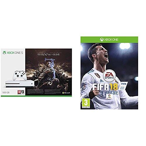 Xbox One S - Consola 500 GB + Sombras De Guerra + Game Pass (1M) + FIFA 18 - Edición estándar