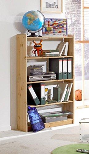Bücherregal Regal Holzregal 80 cm breit Kiefer massiv, Farbe:natur lackiert Verstellbare Regale Bücherregal