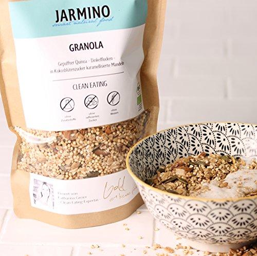 Protein Müsli aus BIO Müsli Granola von JARMINO   400g Crunchy Müsli   Feinstes Fitness Müsli für den Morgen   Knusper Müsli ohne Weizengluten   Eiweiss Müsli