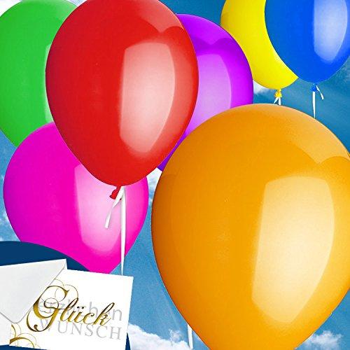 Preisvergleich Produktbild 100x Rundballons BUNT GLÄNZEND Ø30cm + Geschenkkartenset + PORTOFREI mgl. + Helium & Ballongas geeignet. High Quality Premium Ballons vom Luftballonprofi & deutschen Heliumballon Experten. Tolle Luftballondeko und Geschenkidee mit Ballons.