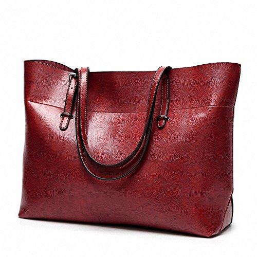 Womens Soft Leder Handtaschen grosser Kapazität Retro Vintage Top-Griff lässige Shopper Umhängetaschen