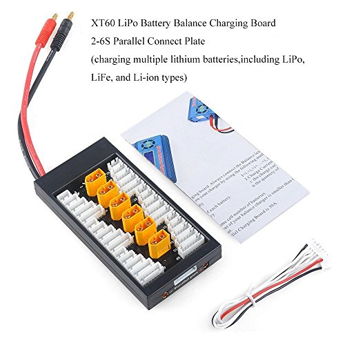 Crazepony-UK Lipo Ladegerät Charger Battery Balance Charging Board XT60 Connectors 2-6S Lipo Akku Parallel Connect Plate by