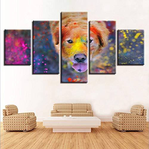 BOMDOW Hd 5 Stücke Kunstdekor Leinwand Malerei Aquarell Tier Hund Poster RahmenHause Korridor Ölgemälde-30X40Cmx2/30X60Cmx2/30X80Cmx1 -