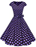 Dresstells Damen Vintage 50er Cap Sleeves Rockabilly Swing Kleider Retro Hepburn Stil Cocktailkleid Black Purple Dot XS
